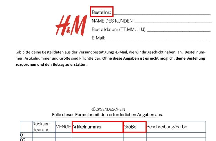 H&M Rücksendung Nicht Verbucht