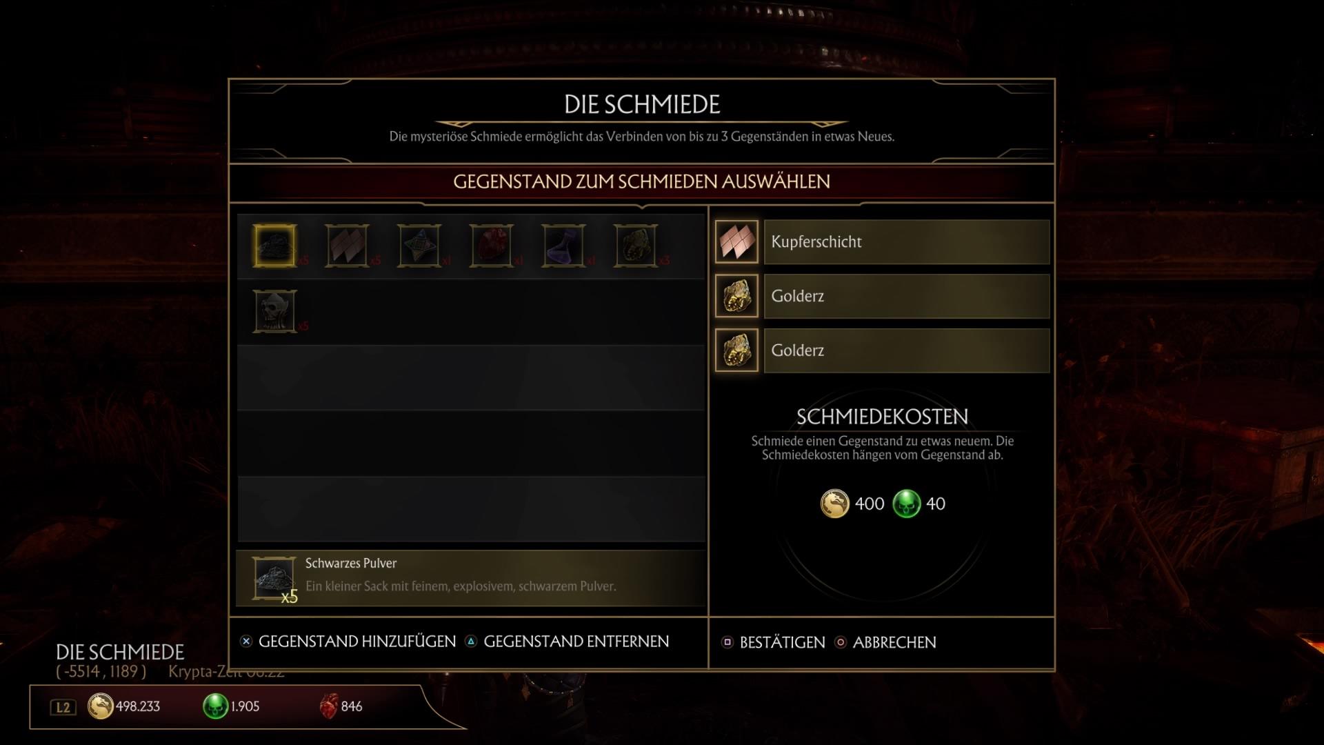 Mortal Kombat 11: Alle Rezepte für die Schmiede - Liste mit