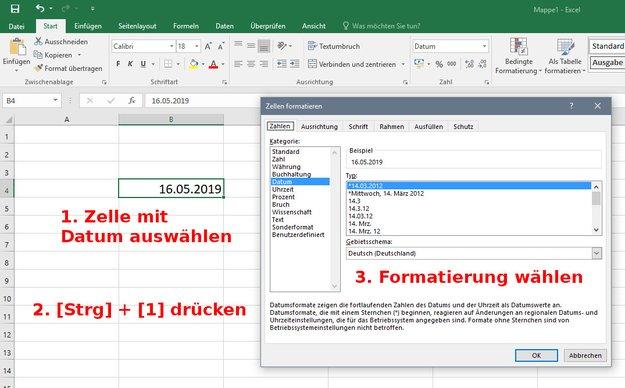 Excel: Datum formatieren – so geht's