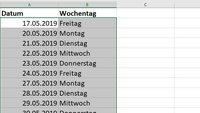 Excel: Fortlaufende Datumsangaben ohne Wochenende erstellen – so geht's