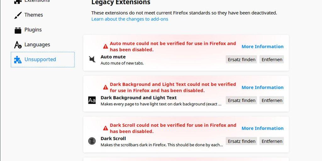 Lösung – Firefox: Alle Add-ons konnten nicht verifiziert werden und