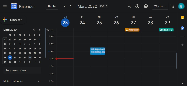 Google Kalender Dark Mode
