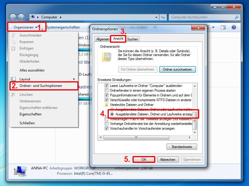versteckte dateien anzeigen windows 7