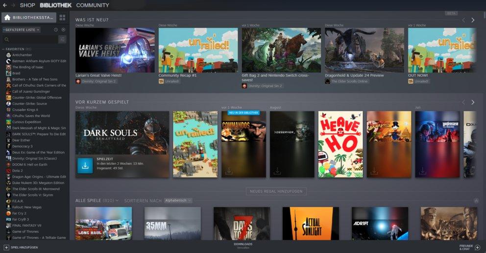 Steam Bibliothek Update