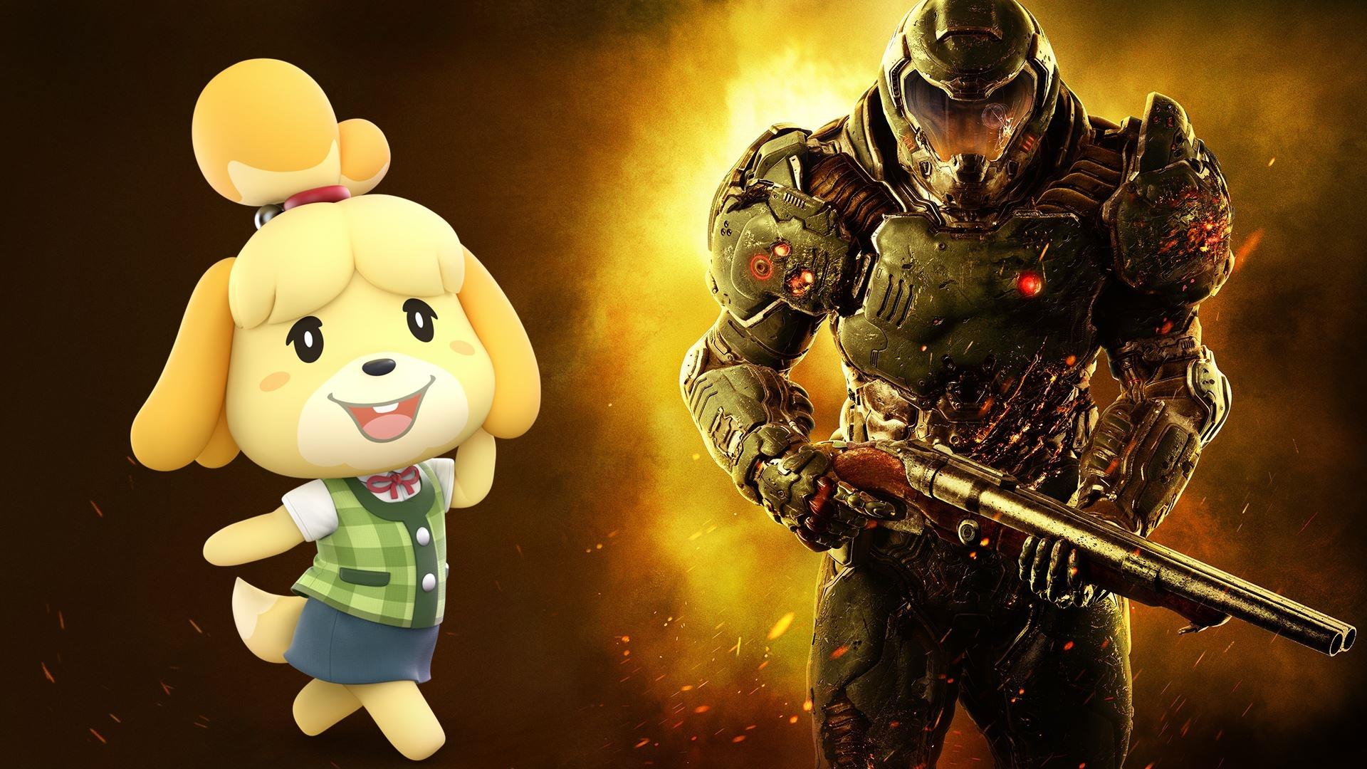 Doomguy Animal Crossing S Isabelle Are Best Friends Games 4 Geeks