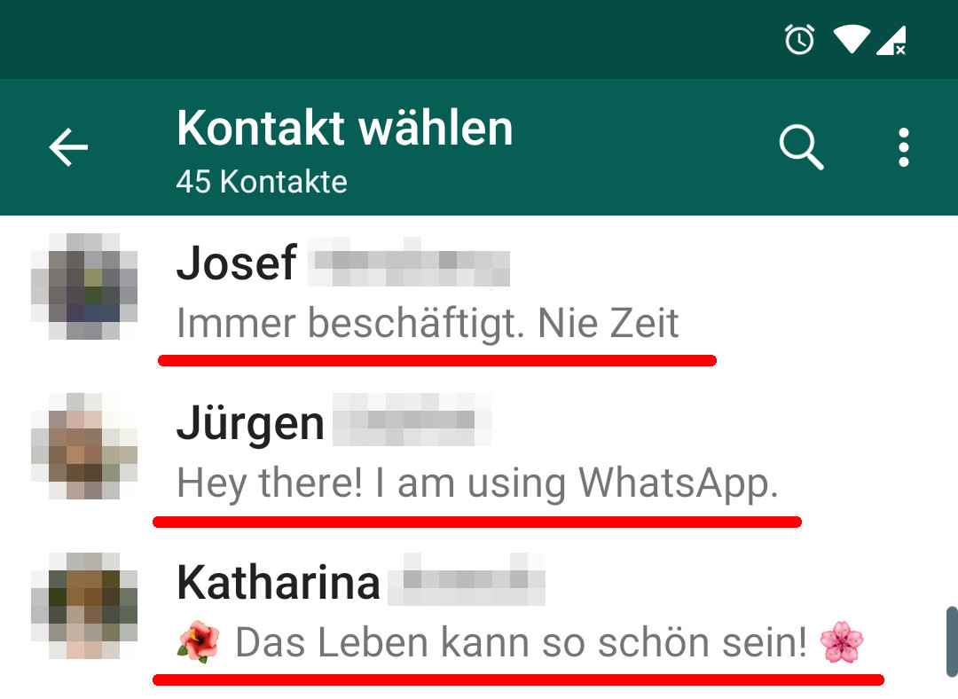 Beispiel: WhatsApp Status bei Kontakten
