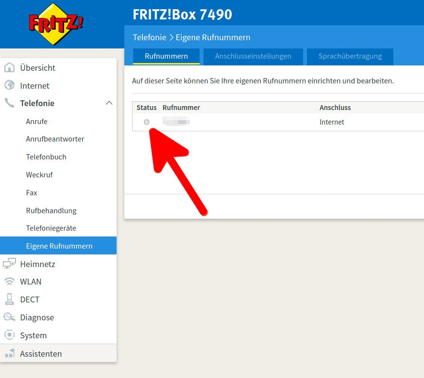 Fritzbox 7490 Keine Rufnummer Aktiv