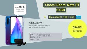 Tarif-Kracher: Xiaomi-Handy, Kabellos-Kopfhörer, Allnet-Flat und 5 GB LTE für 10,99 €/Monat