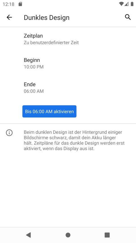 """In Android 11 kann man einen Zeitplan für den """"Dark Mode"""" festlegen. Bild: GIGA"""