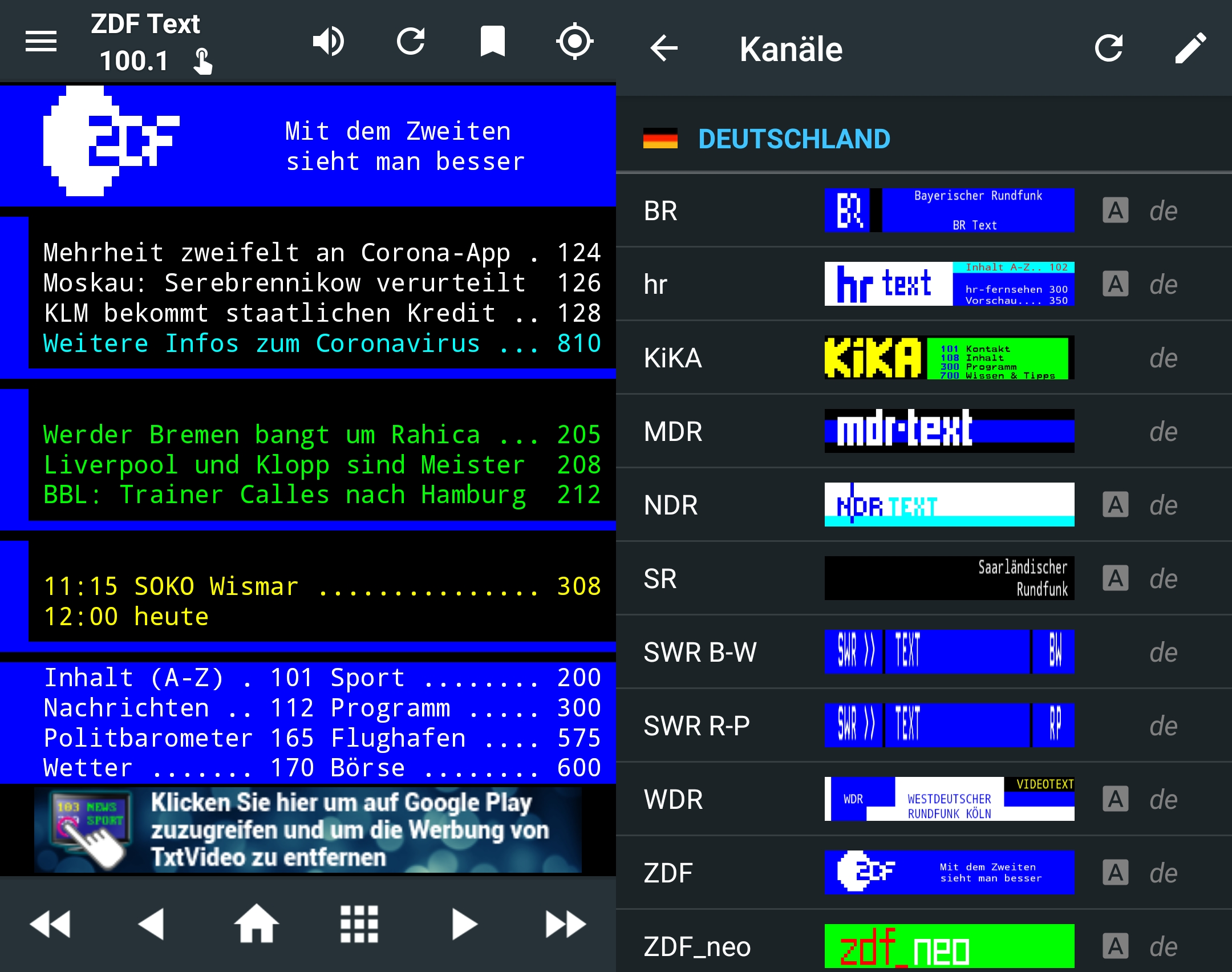 Use teletext from ARD, ZDF & Co in the browser and as an app