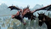 Skyrim-Spieler reitet ein Pferd, das einen Drachen reitet