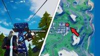 Fortnite: Seilrutsche von Retail Row nach Steamy Stacks - Guide