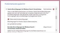 Lösung: Falsche Berechtigung für Windows Search-Verzeichnisse