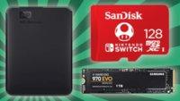 Sparen beim Speicherplatz: SSDs, HDDs und SD-Karten im Angebot