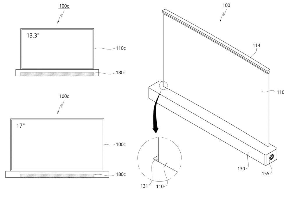 Brevet de LG pour un ordinateur portable enroulable.(Image:LG.)