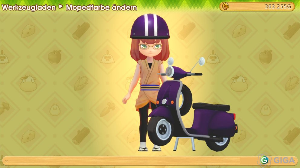 Das Moped in Lila