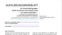 Corona-Impfung: Offizielle Formulare zum Ausdrucken im PDF-Format