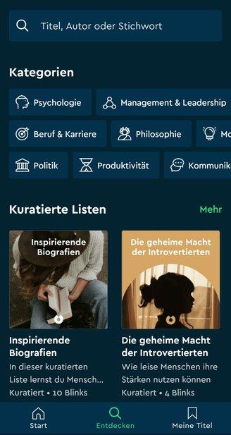 Entdecken-Seite in der Blinkist-App