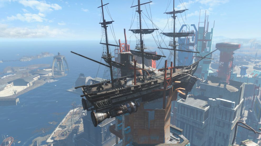 In Fallout 4, the USS Constitution is stuck in a skyscraper.