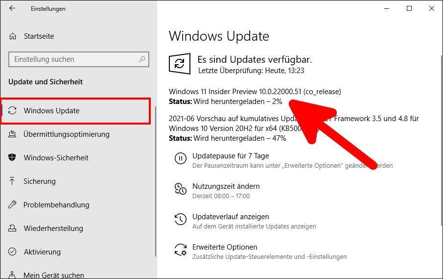 Die Vorschau-Version von Windows 11 wird heruntergeladen. Bild: GIGA
