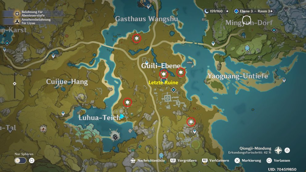 Locations of the first four ruins and the last ruin.