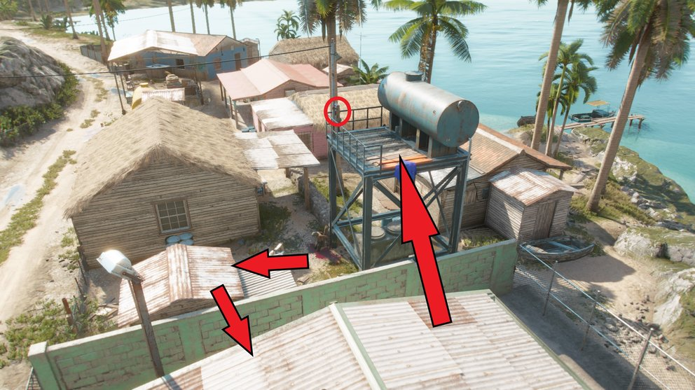 Jump over the roofs of the huts to the second traffic light switch.