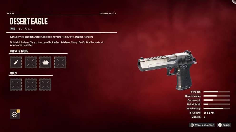 As a reward for the treasure hunt, you will receive the Desert Eagle with many slots for mods.