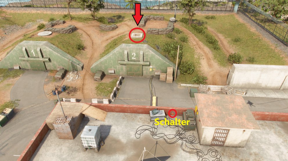 Press the switch and shoot through the briefly open bunker door to blow up the explosives so that the roof hatch over the bunker is opened (Far Cry 6).