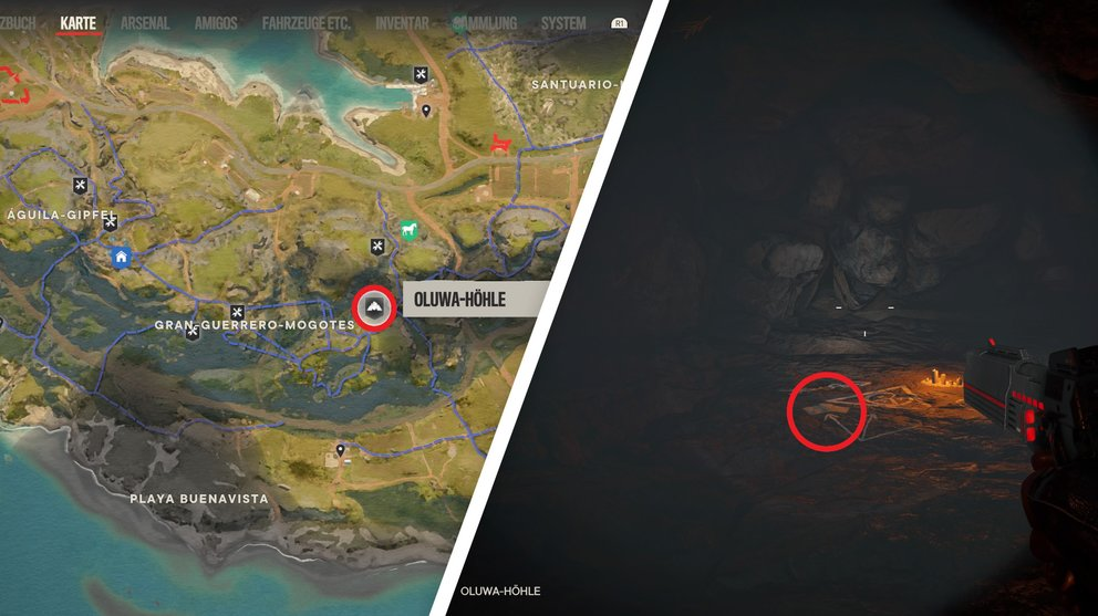 "Read the document in the Oluwa Cave on Isla Santuario ""Tirada blessings"" to start (Far Cry 6)."