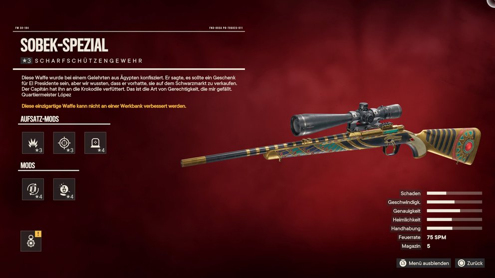 """The unique sniper rifle """"Sobek special"""" is available as a reward for the treasure hunt (Far Cry 6)."""