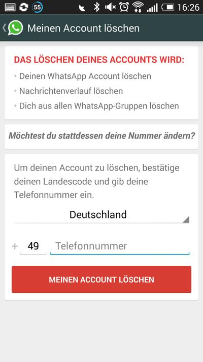 Wie Lösche Ich Meinen Account whatsapp account löschen anleitung giga