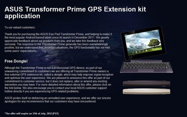 ASUS Transformer Pad Prime: Kostenloses GPS-Dongle kann bestellt werden