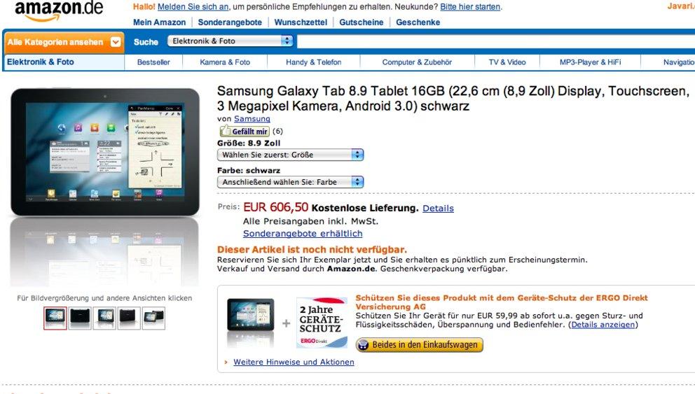 Samsung Galaxy Tab 8.9: Bei Amazon für 606,50 Euro vorbestellen