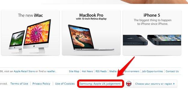 Apple vs. Samsung: Statement auf apple.com/uk muss umgearbeitet werden