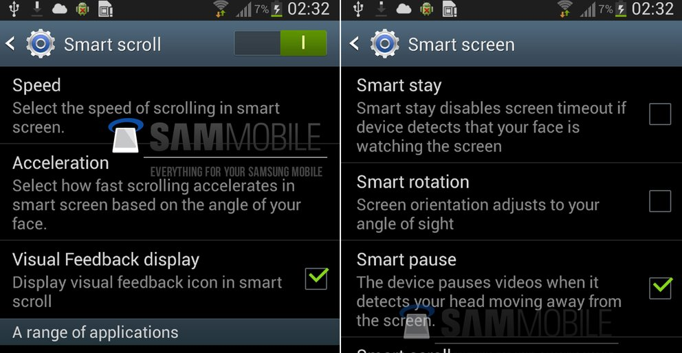 Samsung Galaxy S4: Smart Scroll und Smart Pause in falschen Screenshots