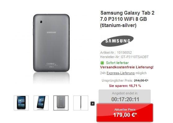 Samsung Galaxy Tab 2 7.0: 7-Zoller nur heute für 179 Euro [Deal]