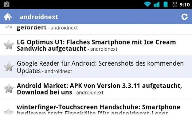 Google Reader und Docs: Neue Versionen im Market – ohne ICS-Look