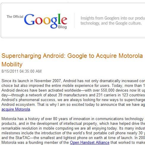 Breaking News: Google kauft Motorola Mobility [Update: Keine Sonderbehandlung für Motorola]