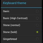 Auswählbare Themen für die Android 4.0 Tastatur