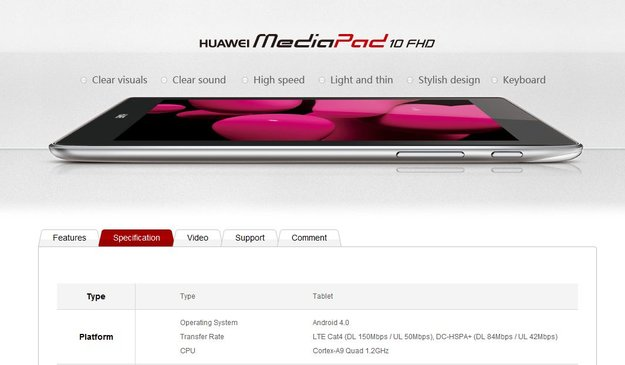 Huawei MediaPad 10 FHD: Nur 1,2 GHz Quad-SoC und 1 GB RAM?