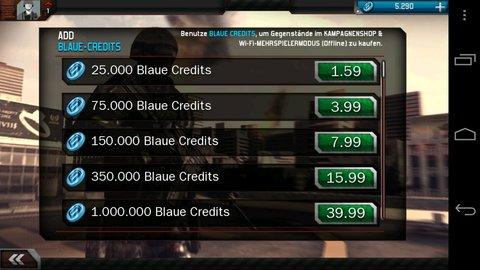 Modern combat 3 - Mehrspieler Zahlungsmethoden