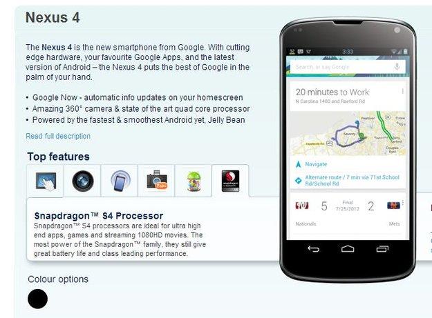 LG Nexus 4: Bei Carphone Warehouse in UK bereits vorbestellbar
