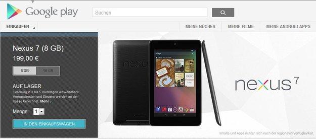Nexus 7: Ab sofort im Play Store bestellbar