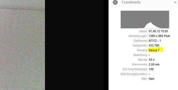 ASUS Nexus 7: Als Kamera auf Picasa aufgetaucht