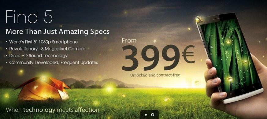 OPPO Find 5: Euro-Shop jetzt offen, 16 GB für 399 €, 32 GB für 429 €