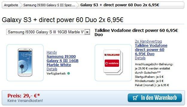 Samsung Galaxy S3: Per Schubladenvertrag für nur 362,60 [Deal]