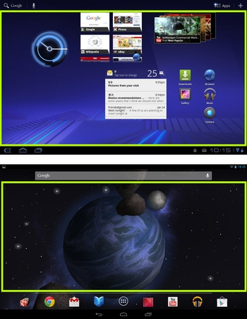 android 3.x vs. 4.2 nutzbarer platz homescreen 10-zoll-tablet