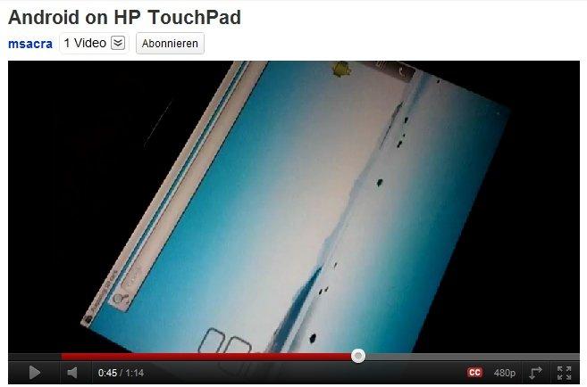 Android auf HP TouchPad: Entwicklergerät mit Froyo aufgetaucht, auf wackeligem YouTube-Video festgehalten