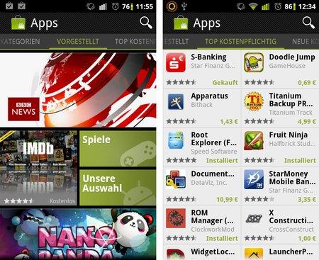 Neuer mobiler Android Market für Smartphones rollt offiziell aus