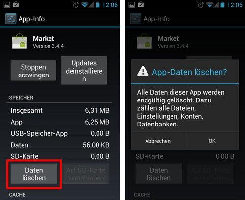 Android Market Daten löschen